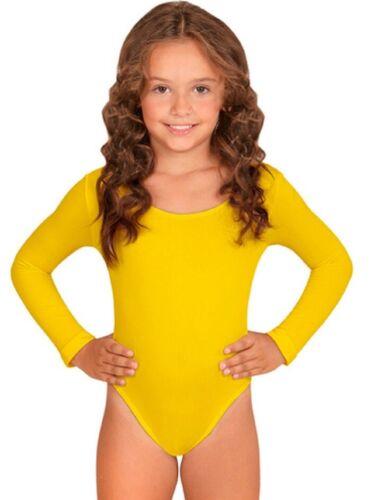 UK Made Girls Kids Long Sleeve Sports Dance Ballet Gymnastics Bodysuit Leotard