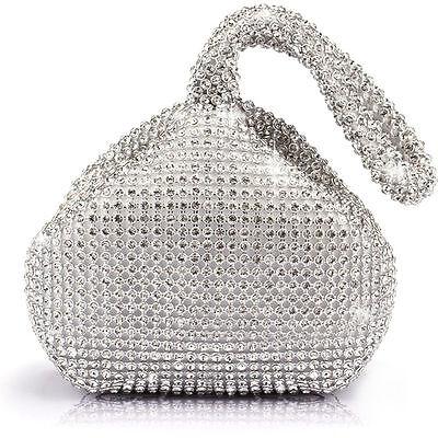 Silver Women Rhinestones Crystal Evening Clutch Bag Party Prom Wedding Purse