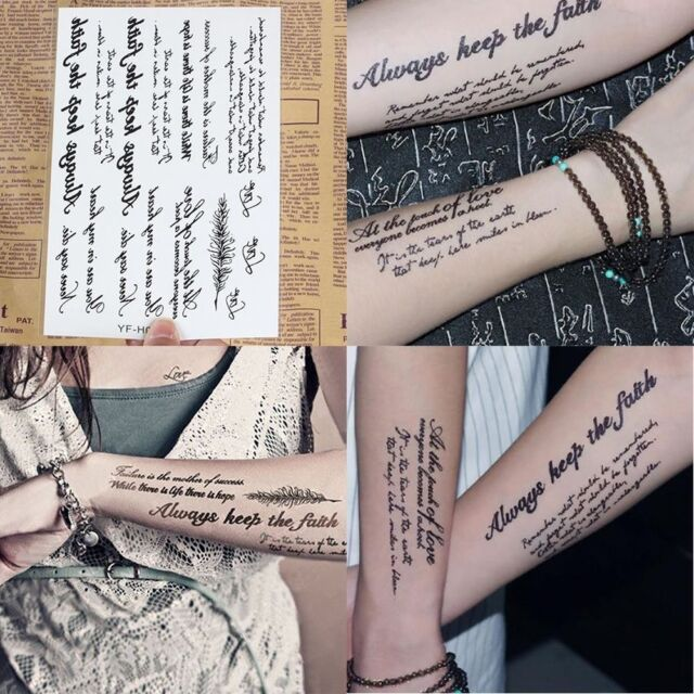 1 Sheet Temporary Tattoo Sticker English Word Letters Feather Body Art Tattoos