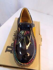 New Vtg 90s Dr Doc Martens Black Patent Leather Mary Jane Rainbow ... 0263c8134