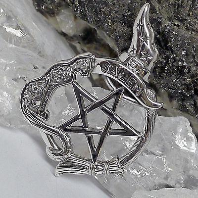 Peter Stone Magisches Salem Witch Pentakel Amulett 925 Silber Hexen Wicca Zauber