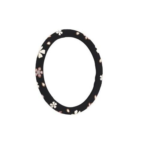 Black Fits Standard 38 cm Flowery Steering Wheel Cover FSWC * Pack Of 2