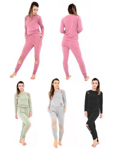 New Womens Ladies Ripped Distressed Joggers Lounge Wear Tracksuit Set Plus Size