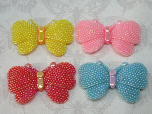 x4 AB Butterfly Resin FlatBack Cabochon Decoden Card Craft Embellishment Bow