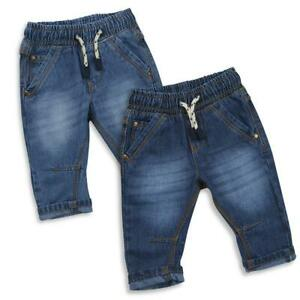 Baby-Boys-Jeans-Denim-Trousers-Elasticated-Waist-Two-Colours-3-6M-to-18-24M