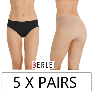 5 x PAIRS BERLEI MICRO HI CUT Underwear briefs Black Nude Microfibre Undies