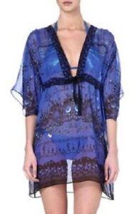 Nouveau Tunique Cover Beach Robe Caftan Bleu Soie Saphir S Up Gottex 4wRP4qT