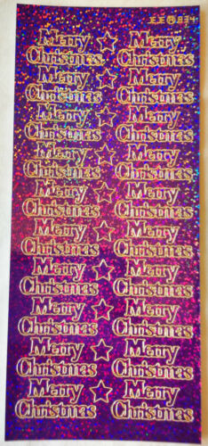 Card Making Diamond Holographic /' MERRY CHRISTMAS /' Stickers Arts /& Crafts