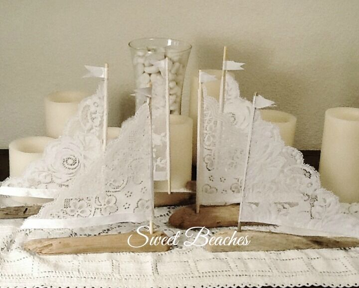6 Weiß Lace Driftwood Sailboat Seaside 6 to 8 inches Decor Wedding Center Peice
