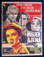 LA MUJER AJENA Rita Macedo NOIR MEXICAN MOVIE POSTER BENITO PEREZ GALDOS 1954
