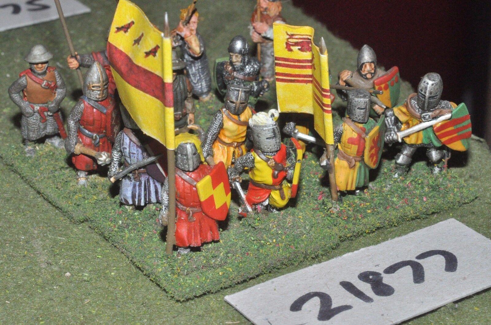 25mm medieval inglés-desmonta una hombres en brazos 16 higos Infantería-INF (21877)