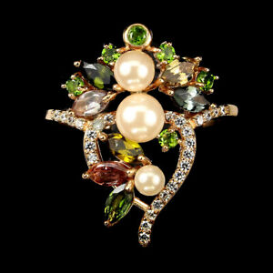 Unheated-Marquise-Tourmaline-Chrome-Diopside-Gems-Cz-925-Sterling-Silver-Ring