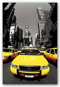 TRAVEL POSTER Yellow Cabs NYC