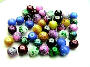 8mm-Mixed-Colour-Mottled-Round-Glass-Marble-Effect-Beads-Beading-Jewellery-Craft
