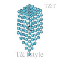 Tt Reverse Blue Cz Long Dazzling Dangle Belly Bar Ring Bl524f