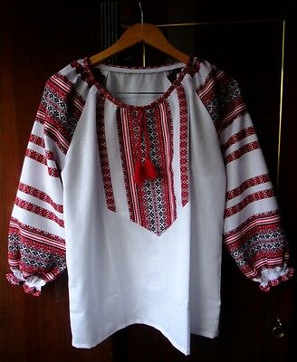 Ukrainian embroidered traditional shirt, blouse, sorochka,vyshyvanka size L