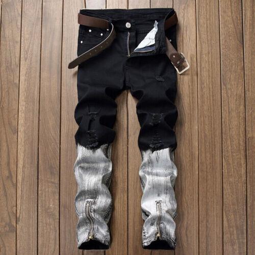Men/'s Trendy Skinny Jeans Biker Destroyed Frayed Slim Denim Ripped Pants Zipper