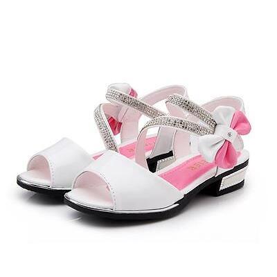 New Kids Girls Sweet Peep Toe Bowknot High Heels Sandals Dress Princess Shoes