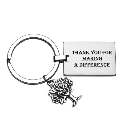 Personalised Text Engraved Stainless steel Life of Tree Keychain Keyring Gift