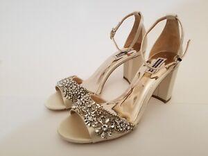 867808a7345 Badgley Mischka Hines Peep Toe Evening Sandal Ivory Block Heel Shoe ...