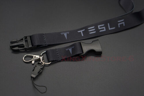 New Car Accessories Keychain Key Card Bag Phone Neck Lanyard Tesla Logo