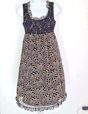 Anthropologie Small Anna Sui Chiffon Dress Black Tan womens Baby doll empire