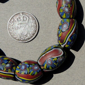 10-old-antique-venetian-oval-millefiori-african-trade-beads-3970
