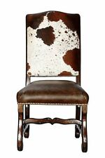 Genuine Cowhide Leather Dining Chair + Distressed Wood Frame + Brass Nails $375