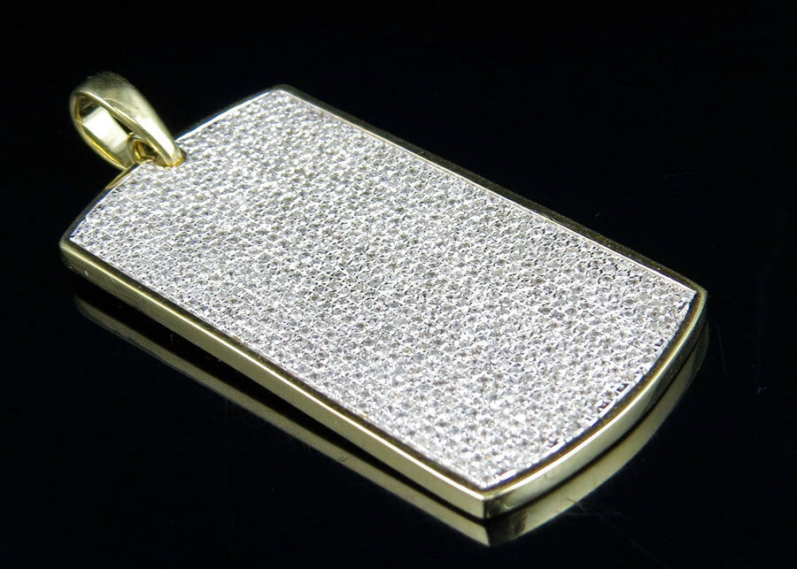 Men's 10K Yellow gold Iced Out Diamond Dogtag Fine Pendant 3.5 ct 1.9 inches