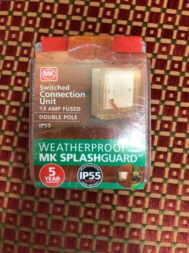 MK blanc étanche Commutation Unité de raccordement 13AMP Fusible Double Pole IP55