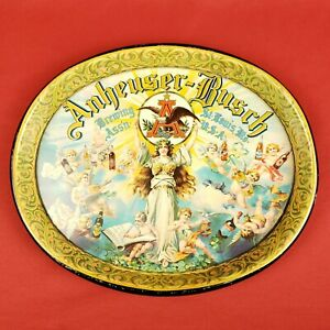 Vintage Anheuser Busch Beer Metal Serving Tray with Cherubs & Angels St Louis MO