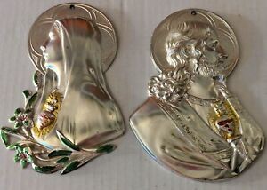 Two Vintage Wall Hanging Plaques Mary & Jesus Christ Pewter
