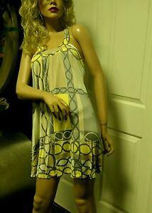 Look anni Dress gogo Silk Brown Yellow '60 Julie Mini Small Mod 7qO8On