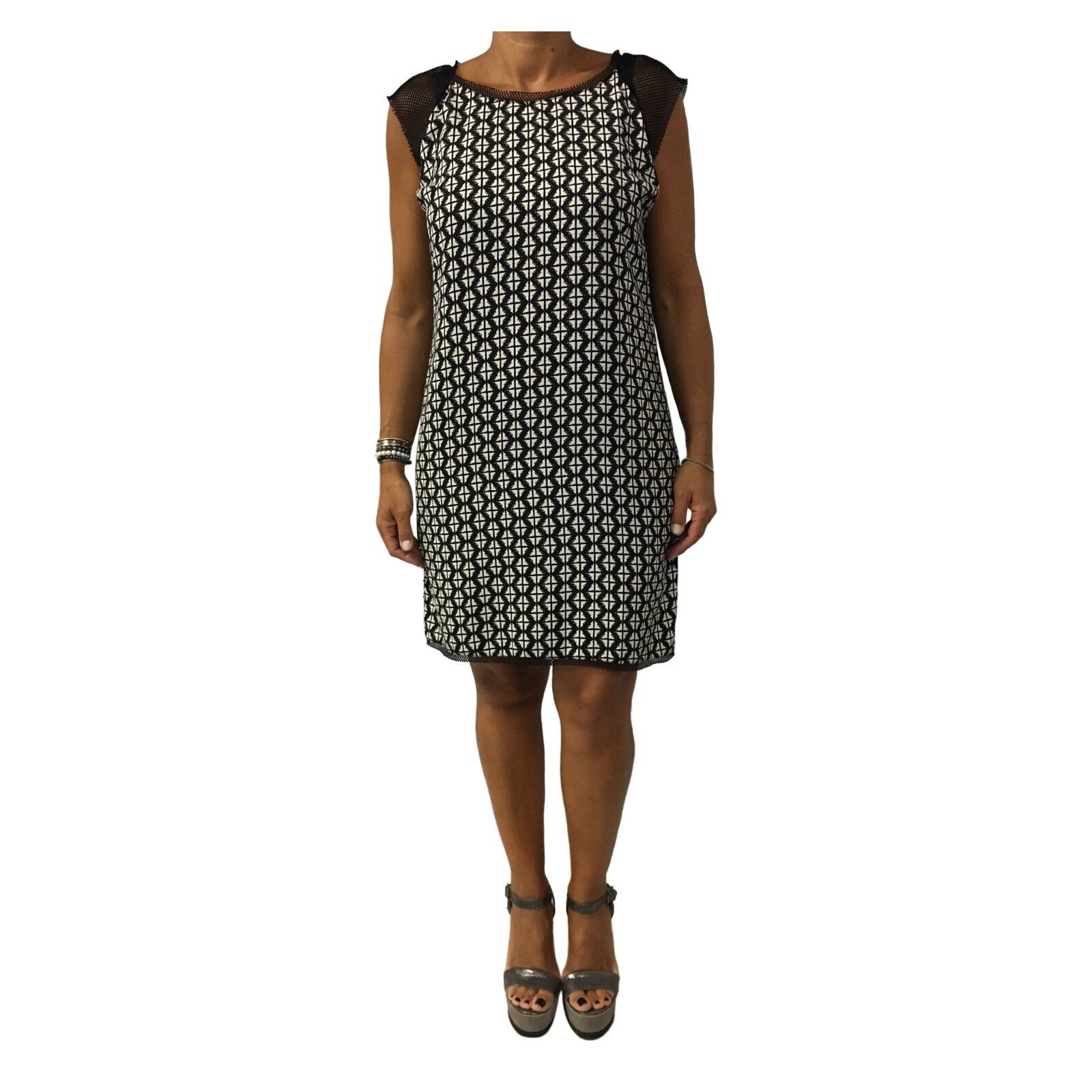 LA FEE MARABOUTEE Kleid Frau schwarz ecru 100%Polyester W7018 MADE IN ITALY it