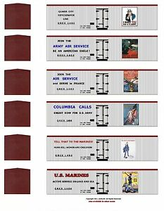 WW1-Liberty-Train-60-boxcar-set-HO-scale-printed-reefer-sides