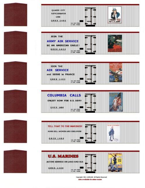WW1 Liberty Train 60 boxcar set, N scale printed reefer sides