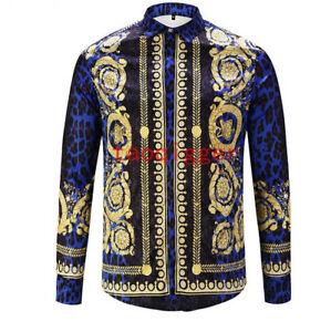 Men-Vogue-Runway-Blue-Clubwear-3D-Floral-Printed-Long-Sleeve-Leisure-Shirts-Tops