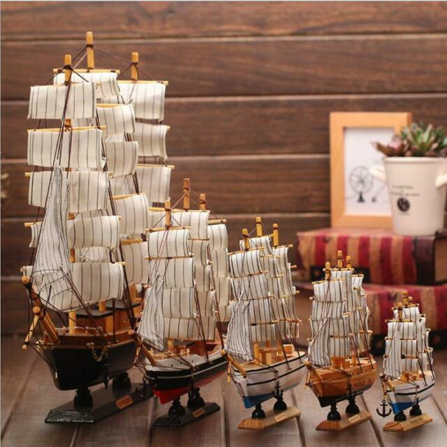 5.5-12 Inch Sailboat Wooden Ship Kits Home Model Decoration Priate Boat Gift Toy