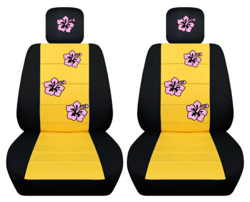 VW Beetle front car seat cover black//yellow w//daisy/&ladybug,hibiscus,butterfly..