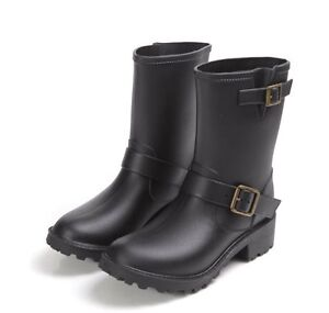 Women Motorcycle Flat Short Boots Wellies Pull On Buckles Biker