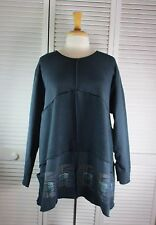 Labryrinth Fleece Tunic XL Graphite w/ Primitivism Art by Blue Fish Red Moon