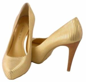 Gianni-Bini-Haley-Women-039-s-Rice-Gold-Leather-Platform-Heels-size-7-5