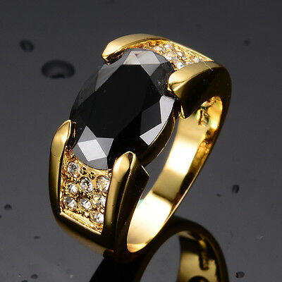 Size 6-12 Fat Black Sapphire Engagement Ring Women/Men's Yellow Gold Filled Band