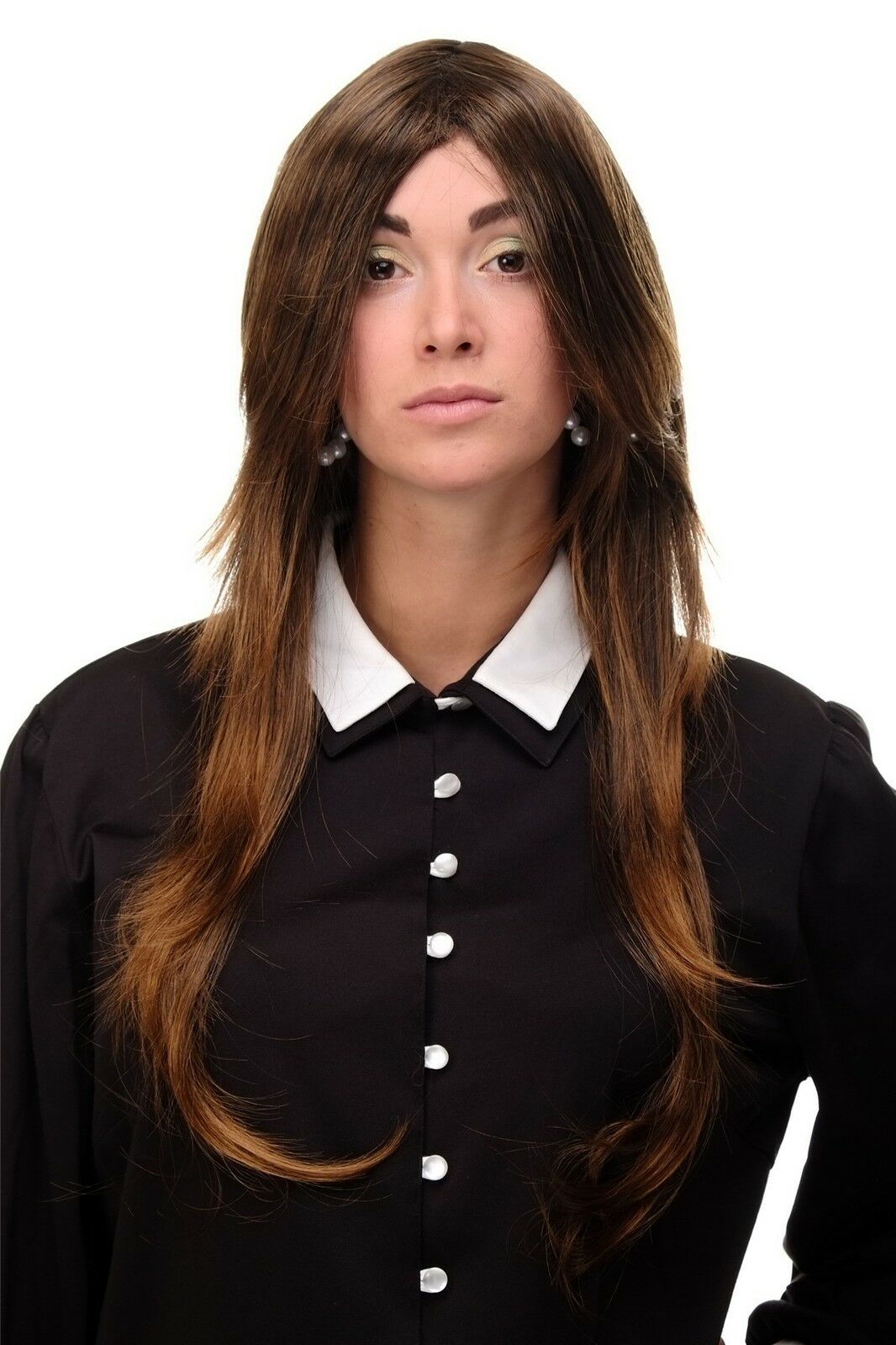 Wig Long Braun Black Kupferbraun Layered Smooth Parting 29 1 2in 3110 2t30