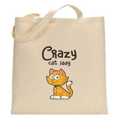 Crazy Cat Lady Tote Bag Funny Cotton Shopping Lightweight Pet Lover Kitten Gift