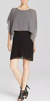 XL $348 EILEEN FISHER  CINDER SHEER SILK GEORGETTE BALLET NK K//L COLORBLOCK DRES