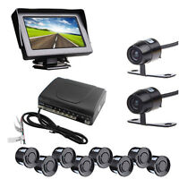 Car Rear Front View Kit 4.3 Monitor & Reverse Front Camera W 8 Parking Sensors