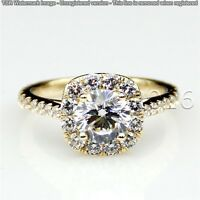 Genuine 1.90CT Off White Yellow Moissanite Ring Wedding Ring 925 Silver Ring A07