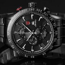 Blacktip Shark Luxury Mens Stainless Steel Date Day Quartz Wrist Sport Watch+Box