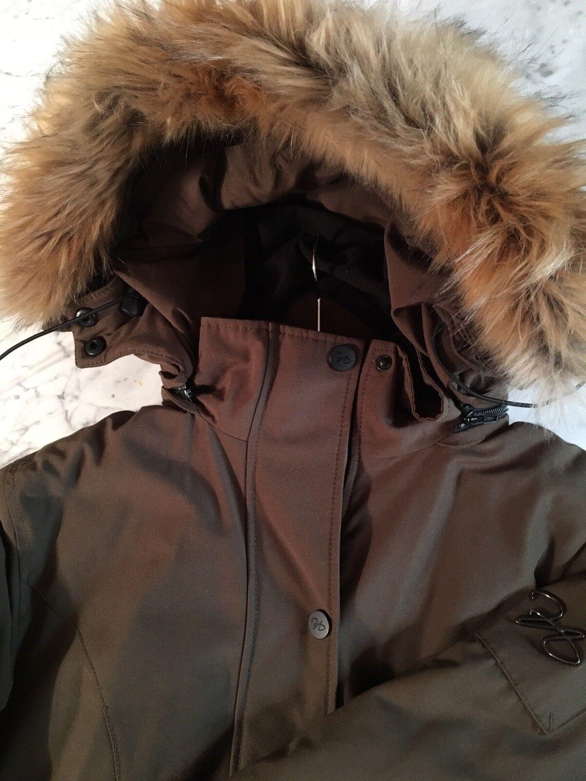 3e876b71 North Aware Women's Green 375 Winter Parka Faux-Fur Trim Size Medium ...